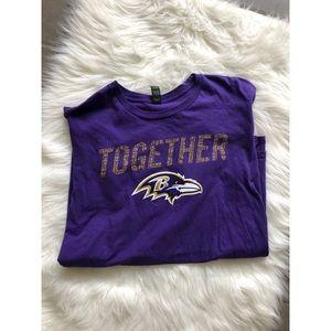 Tops - Purple Ravens Cotton Short Sleeve Shirt Large